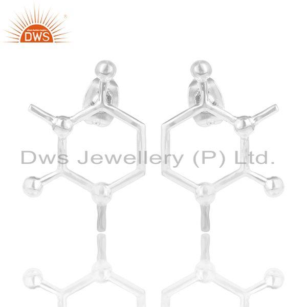 Solid 925 Sterling Silver Handmade Art Deco Fashion Studs Earrings