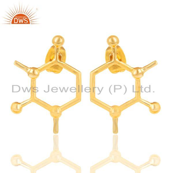 14K Yellow Gold Plated 925 Sterling Silver Art Deco Fashion Studs Earrings