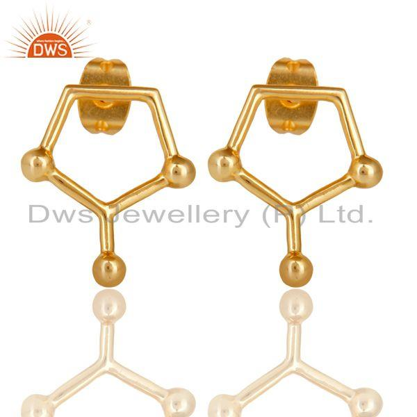 14K Gold Plated 925 Sterling Silver Art Deco Spacing Fashion Studs Earrings