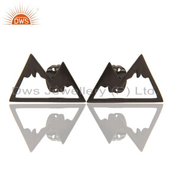 Black Oxidized 925 Sterling Silver Art Deco Studs Fashion Earrings Jewelry