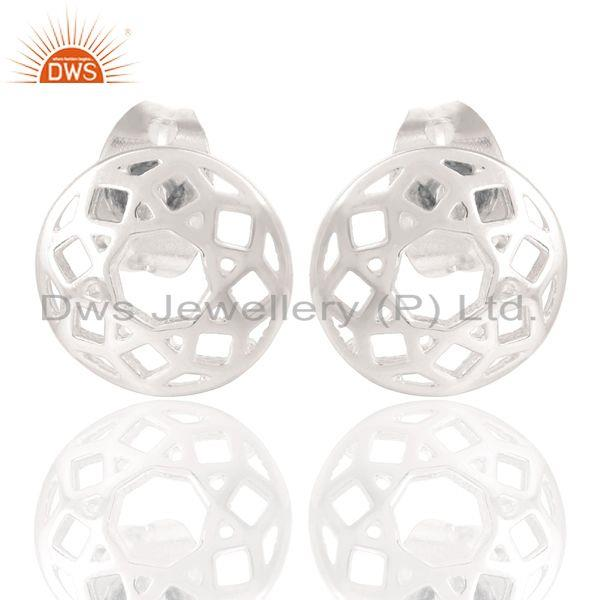 Marvelous Solid 925 Sterling Silver Handmade Art Round Design Studs Earrings