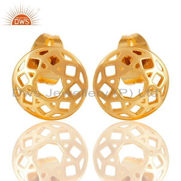 14K Yellow Gold Plated Sterling Silver Handmade Art Round Design Studs Earrings