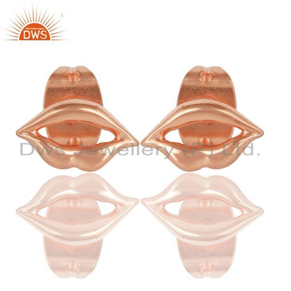 14K Rose Gold Plated 925 Sterling Silver Handmade Art Lips Design Studs Earrings