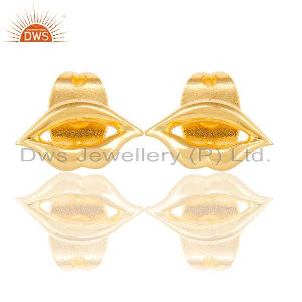 14K Yellow Gold Plated Sterling Silver Handmade Art Lips Design Studs Earrings