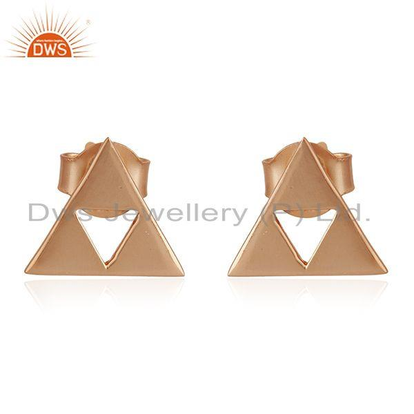 14K Rose Gold Plated Sterling Silver Handmade Trillion Cut Style Studs Earrings