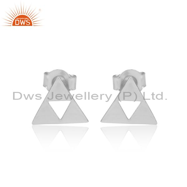 Solid 925 Sterling Silver Handmade Trillion Cut Style Studs Earrings