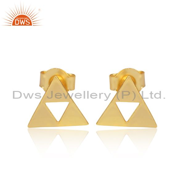 14K Gold Plated Sterling Silver Handmade Art Trillion Cut Style Studs Earrings