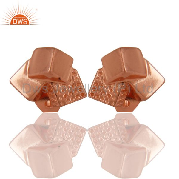 14K Rose Gold Plated Sterling Silver Handmade Art Little Studs Fashion Earrings