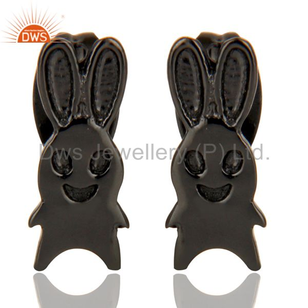 Black Oxidized 925 Sterling Silver Handmade Art Rabbit Design Studs Earrings