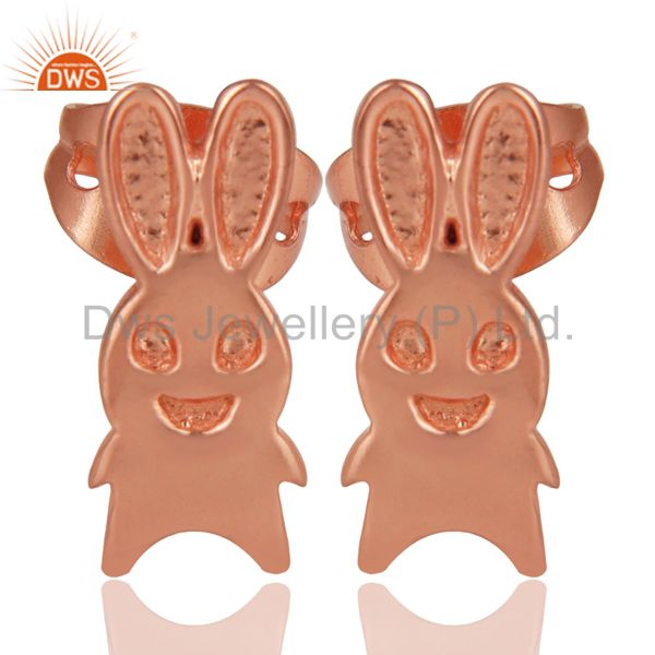 14K Rose Gold Plated Sterling Silver Handmade Art Rabbit Design Studs Earrings
