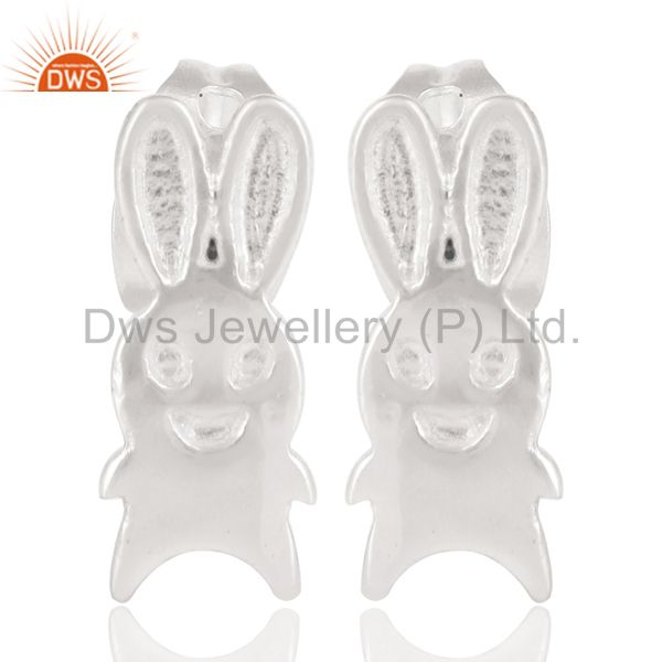 Solid 925 Sterling Silver Handmade Art Little Rabbit Design Studs Earrings