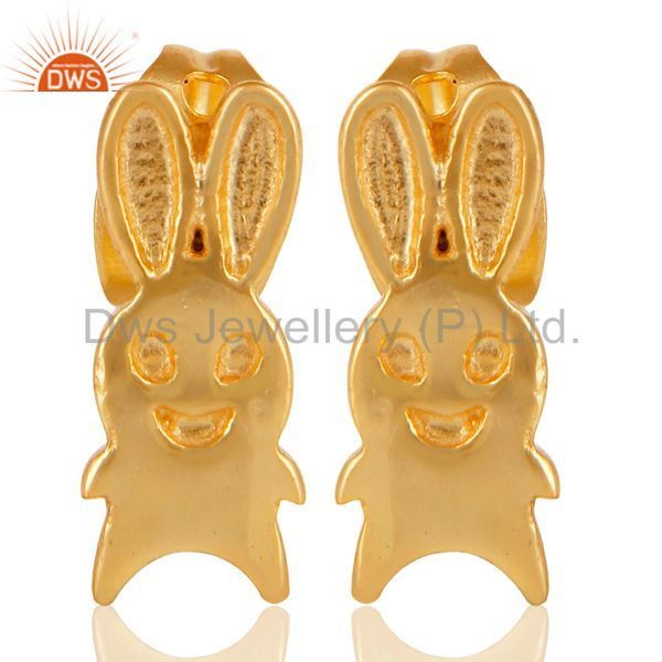 14K Yellow Gold Plated Sterling Silver Handmade Art Rabbit Design Studs Earrings