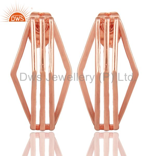 14K Rose Gold Plated 925 Sterling Silver Handmade Flat Style Studs Earrings