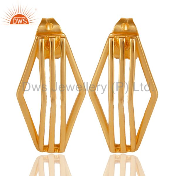 14K Yellow Gold Plated 925 Sterling Silver Handmade Flat Style Studs Earrings