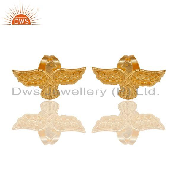 14K Gold Plated Sterling Silver Handmade Birds Little Design Studs Earrings