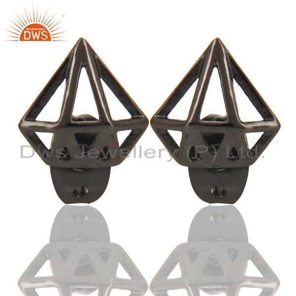 Black Oxidized 925 Sterling Silver Handmade Art Classic Design Studs Earrings