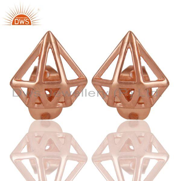 14K Rose Gold Plated Sterling Silver Handmade Art Classic Design Studs Earring