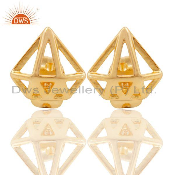 14K Yellow Gold Plated Sterling Silver Handmade Art Classic Design Studs Earring