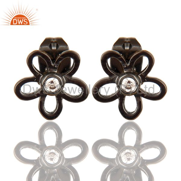 Black Oxidized 925 Sterling Silver Flower Design White Zirconia Studs Earrings