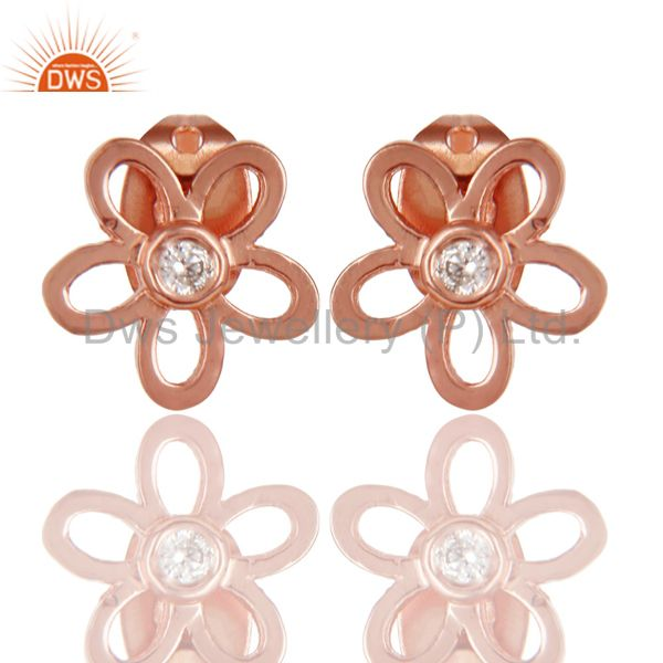 14K Rose Gold Plated Sterling Silver Flower Design White Zirconia Studs Earrings
