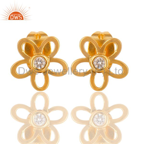 14K Gold Plated Sterling Silver Flower Design White Zirconia Studs Earrings