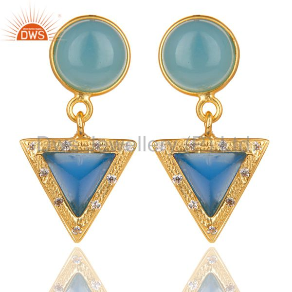 14K Gold Plated Sterling Silver Dyed Chalcedony & White Zircon Drops Earrings