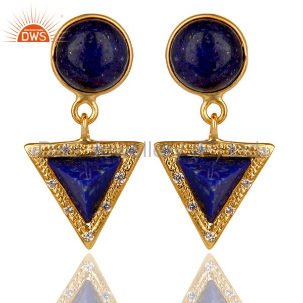 14K Gold Plated 925 Sterling Silver Lapis Lazuli & White Zircon Drops Earrings