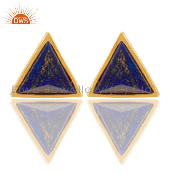 14K Gold Plated 925 Sterling Silver Handmade Lapis Pyramid Style Studs Earrings