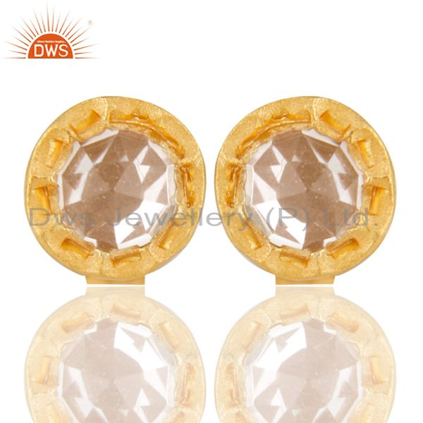 14K Yellow Gold Plated 925 Sterling Silver Crystal Quartz Studs Earrings