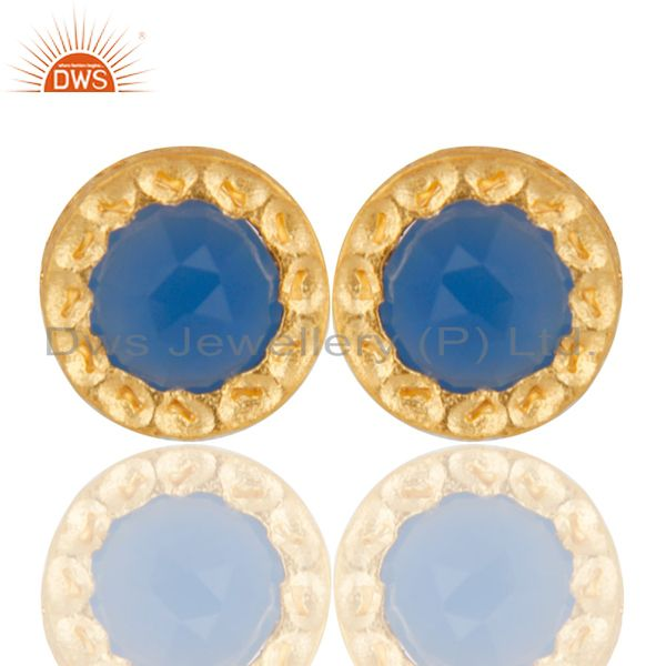 14K Gold Plated 925 Sterling Silver Handmade Dyed Blue Chalcedony Stud Earrings
