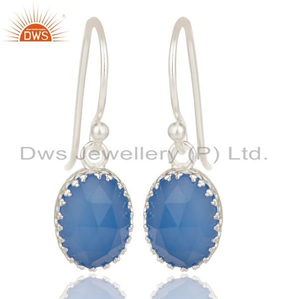 Handmade Solid 925 Sterling Silver Dyed Blue Chalcedony Drops Earrings Jewelry