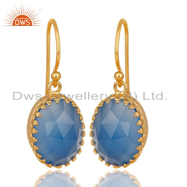 14K Yellow Gold Plated 925 Sterling Silver Dyed Blue Chalcedony Drops Earrings
