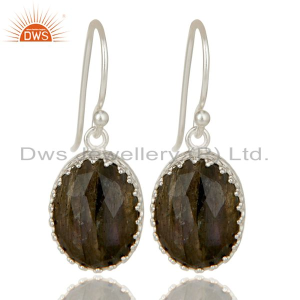 Handmade Solid 925 Sterling Silver Faceted Labradorite Drops Earrings Jewelry