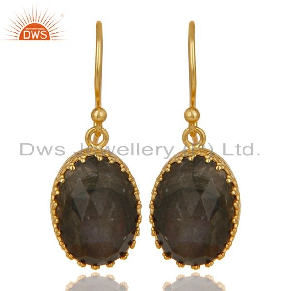 14K Yellow Gold Plated 925 Sterling Silver Faceted Labradorite Drops Earrings