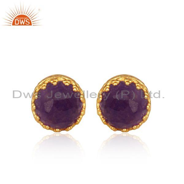 Aventurine Natural Amethyst Set Gold On 925 Silver Earrings