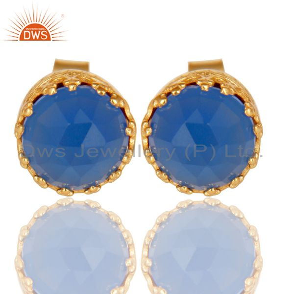 14K Yellow Gold Plated 925 Sterling Silver Dyed Blue Chalcedony Studs Earrings