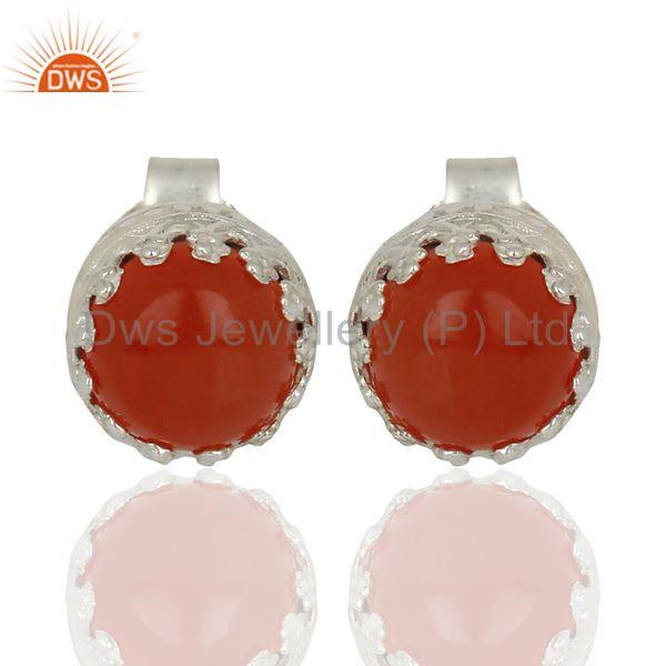 Wholesale Sterling Fine Silver Carnelian Gemstone Womens Stud Earrings