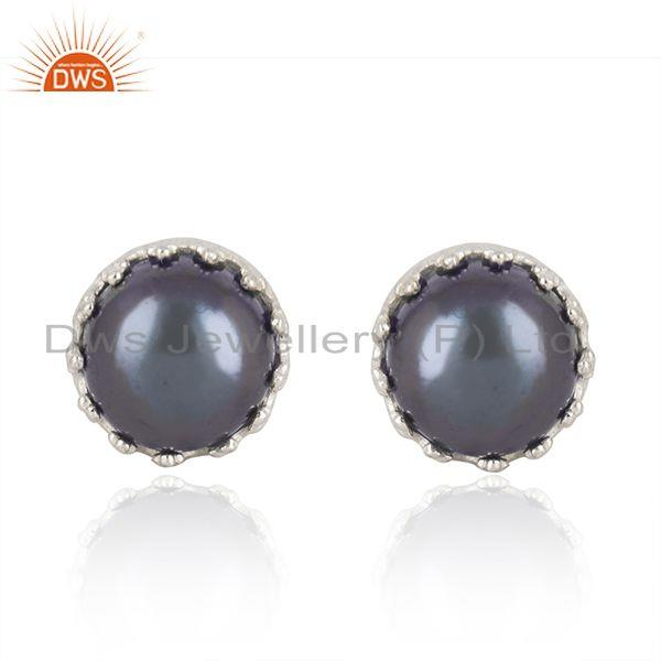 Crown Design Fine 925 Silver Gray Pearl Stud Earring Manufacturer
