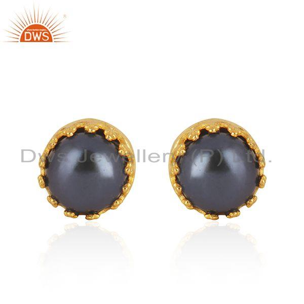 Gray Pearl Gemstone Crown Design Gold Plated 925 Silver Stud Earring Wholesale