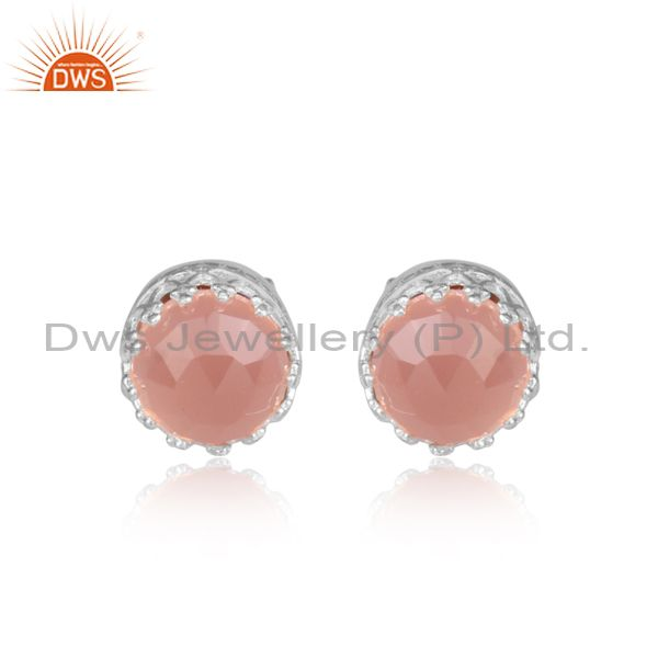 Rose cut rose chalcedony set gold on silver classic earrings