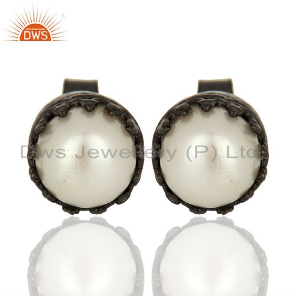 Pearl Studs Black Rhodium 925 Sterling Silver Earrings Gemstone Jewelry
