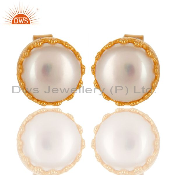 14K Yellow Gold Plated 925 Sterling Silver Handmade Pearl Beads Studs Earrings