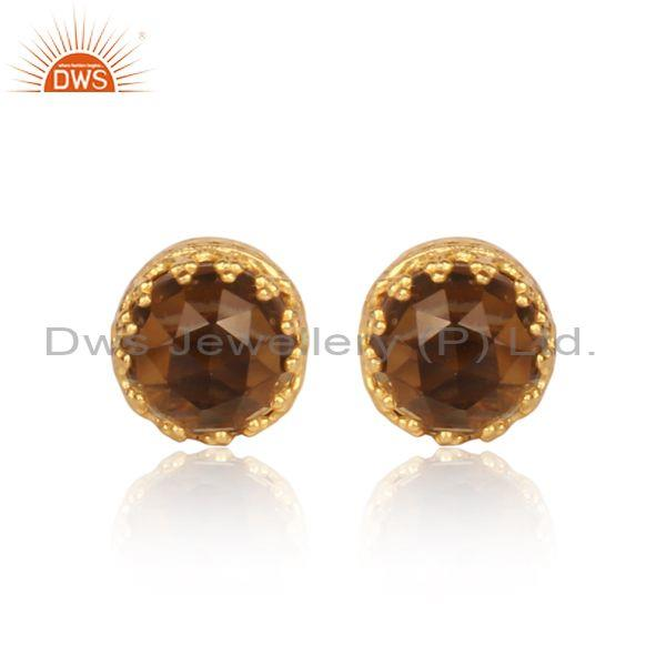 Smoky Set Gold On 925 Sterling Silver Crown Shaped Earrings