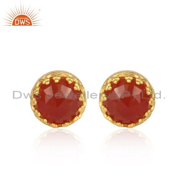 Red Onyx Set Gold On Sterling Silver Crown Shaped Earrings