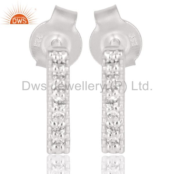 Handmade Solid 925 Sterling Silver Handmade White Zircon Studs Earrings