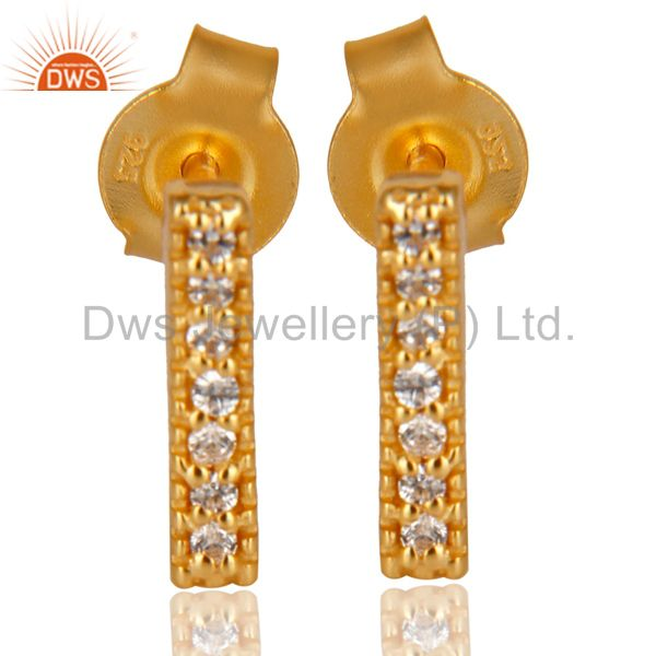 14K Yellow Gold Plated 925 Sterling Silver Handmade White Zircon Studs Earrings