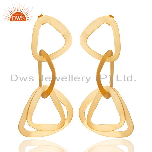 14K Yellow Gold Plated 925 Sterling Silver Handmade Fashionable Dangle Earrings