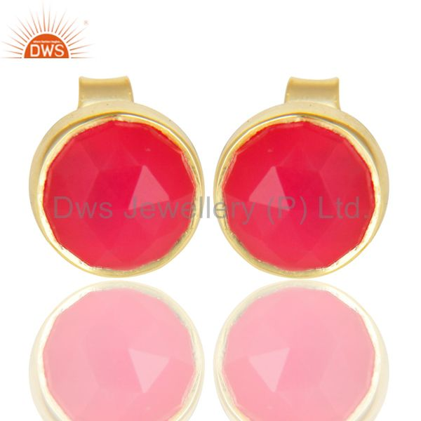 14K Yellow Gold Plated 925 Sterling Silver Dyed Pink Chalcedony Studs Earrings