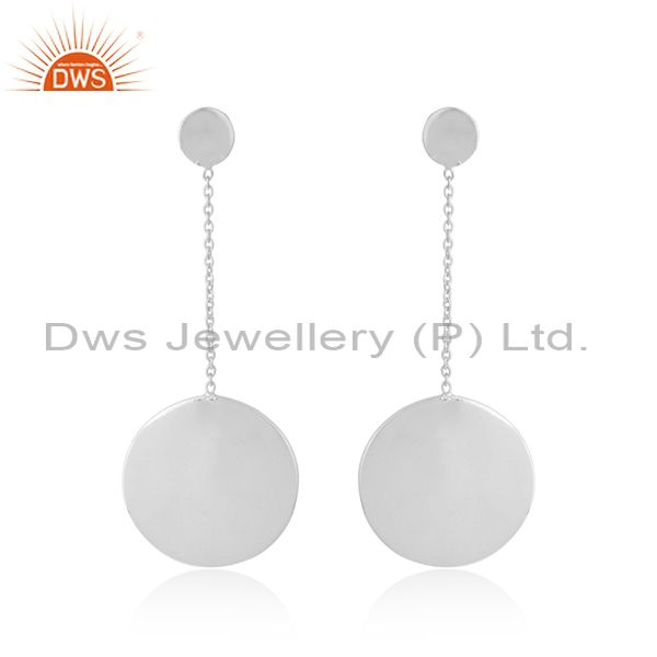 Handmade 925 fine silver drop disc design plain silver earrings