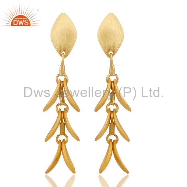 14K Yellow Gold Plated 925 Sterling Silver Handmade Leaf Design Dangle Earrings
